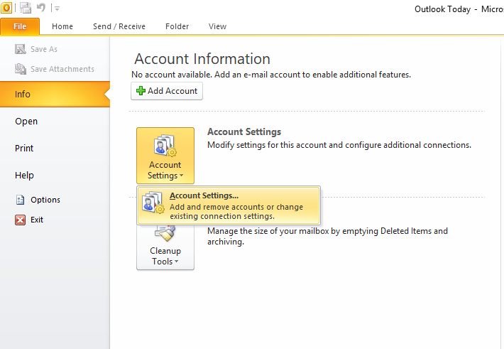 Hướng dẫn thiết lập tài khoản Email trên Outlook 2010