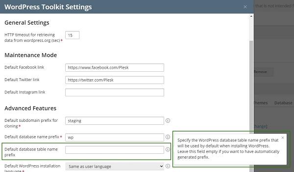 WordPress Toolkit 4.9 tạo tiền tố ngẫu nhiên cho tên bảng Database khi có người cài đặt WordPress mới.