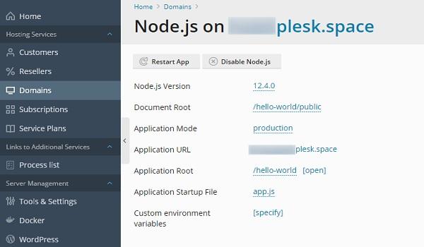 Bật hỗ trợ Node.js trên Domains.