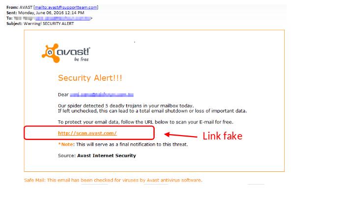 """Một Email Spam vừa giả mạo Avast vừa """"Security Alert!!!"""""""